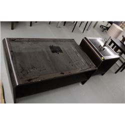WOOD AND GLASS TOP COFFEE AND END TABLE