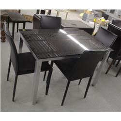 SMALL BLACK GLASS DINING TABLE WITH FOUR CHAIRS