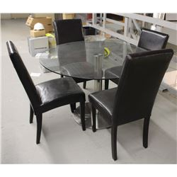 LARGE ROUND GLASS TOP DINING TABLE WITH 4 CHAIRS