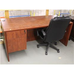 """CHERRY WOOD 66"""" X 30"""" OFFICE DESK WITH CHAIR"""