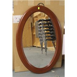 """LOT OF 2 BROWN WOOD STYLE OVAL MIRRORS 26"""" X 39"""""""