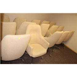 LOT OF 15 ROLLING FABRIC RECEPTION CHAIRS