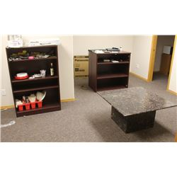 TWO BOOKSHELVES AND RED GRANITE COFFEE TABLE