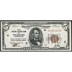 1929 $5 Federal Reserve Bank Note Philadelphia