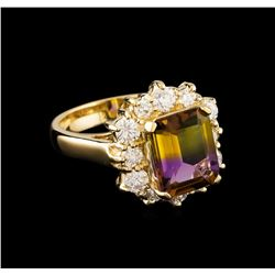 2.65 ctw Ametrine and Diamond Ring - 14KT Yellow Gold