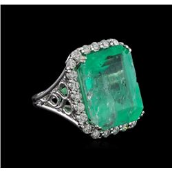 GIA Cert 22.51 ctw Emerald and Diamond Ring - 14KT White Gold