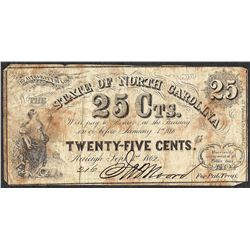 1862 Twenty-Five Cents State of North Carolina Obsolete Note