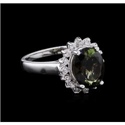 3.10 ctw  Green Tourmaline and Diamond Ring - 14KT White Gold