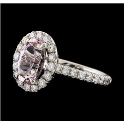 2.17 ctw Morganite and Diamond Ring - 14KT White Gold