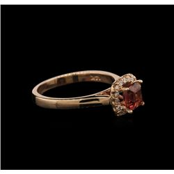 0.78 ctw Pink Tourmaline and Diamond Ring - 14KT Rose Gold