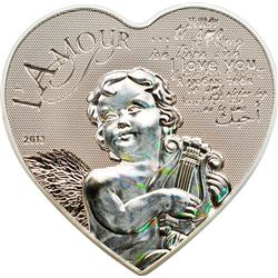 2013 1000 Francs CFA Heart of Love - Sterling Silv