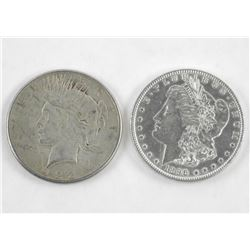 Lot (2) USA Silver Dollars 1923 and 1896