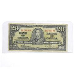 Bank of Canada 1937 - Twenty Dollar Note. G/T