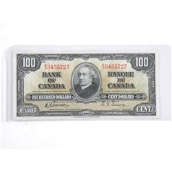 Bank of Canada 1937 - One Hundred Dollar Note.