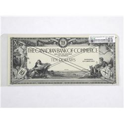 Bank of Commerce Ten Dollar Note '1917' 2pc Cancelled. UNC 60