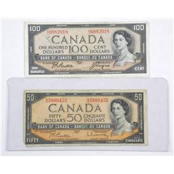 Lot Bank of Canada 1954 - Fifty and One Hundred Do