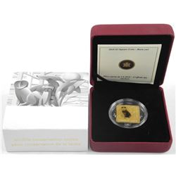 925 Silver/24kt Gold Plated Square 3.00 Coin, 'Bar
