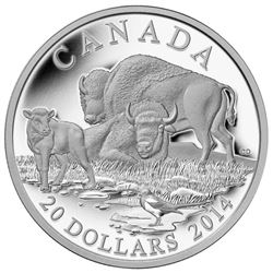 2014 $20 The Bison: A Family at Rest - Pure Silver