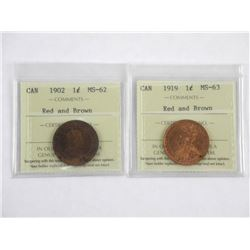 Estate Lot (2) Large One Cent 1902- MS62 and 1919