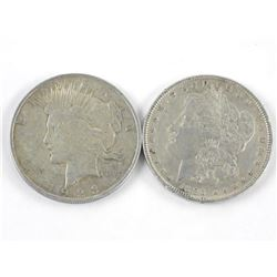 Lot (2) USA Silver Dollars: 1896 and 1923
