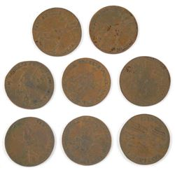 Lot (8) 1780s Lady Luck Tokens