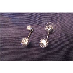 TWO IN ONE SILVER DROP EARRINGS WITH CZ ACCENTS