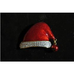 HAND ENAMELED SANTA HAT WITH TWO ROWS OF CZ AND BELL ACCENT