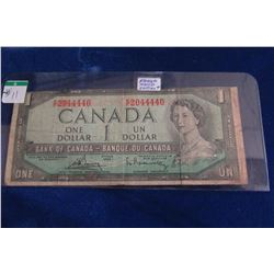1954 BANK OF CANADA WITH POKER HAND SERIAL NUMBER DOLLAR BILL