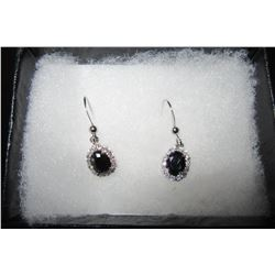 DELICATE DROP EARRINGS WITH BLACK CRYSTAL SURROUNDED BY CLEAR SWAROVSKI CRYSTALS
