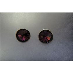 Purple swarovski crystal stud earrings