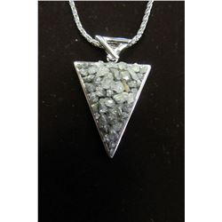 "GEOMETRIC SHAPE PENDANT WITH RHODIUM AND RAW GENUINE QUARTZ ON A 30"" SILVER CHAIN"