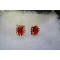 SQUARE RED CZ SURROUNDED BY CLEAR SWAROVSKI CRYSTAL EARRINGS