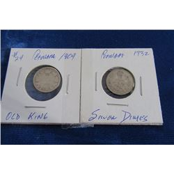 1909 AND 1932 CANADIAN OLD KING SILVER DIMES