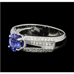 0.70 ctw Diamond and Sapphire Ring - 18KT White Gold