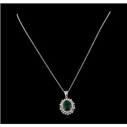 5.14 ctw Emerald and Diamond Pendant With Chain - 14KT White Gold
