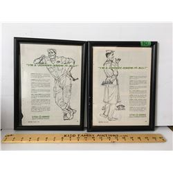 GR OF 2, 1954 CITIES SERVICE ADS - FRAMED