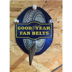 GOOD YEAR, FAN BELT DEALER SIGN, APPROX 6  - NOTE ORIGINAL WHITE RUBBER