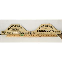 GR OF 2 PORCELAIN SIGNS, WEIGHT & HOROSCOPE
