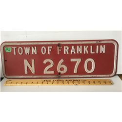 """TOWN OF FRANKLIN METAL SIGN, 24"""" X 8"""""""