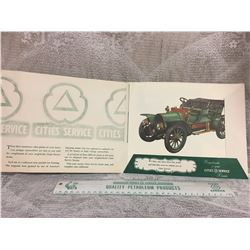 CITIES SERVICE, GROUP OF 3 ANTIQUE EARLY AMERICAN AUTOMOBILES BROCHURE AND RULER