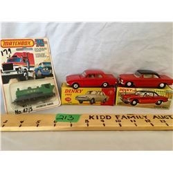 GR OF 3, DINKY CORVAIR MONZA, FORD CONSUL CORSAIR. MATCHBOX, LOCOMOTIVE PANNIER - AS NEW.