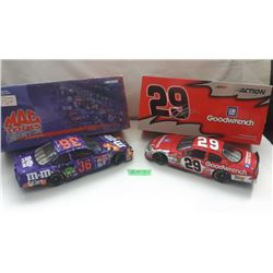 GR OF 2 NASCAR 1:24 SCALE DIECAST, KEVIN HARVICK & KEN SCHRADER CARS, W/BOX