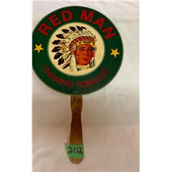 RED MAN LOOSE LEAF TOBACCO CARDBOARD SIGN, APPROX 8""