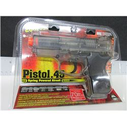 New Air Soft .45 cal Pistol 200fps spring power High capacity magazine 70bb's