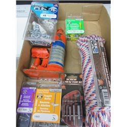 Box of New Tools and Hardware / Rope - Bottle Jack - screw extractors Etc.