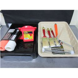 New Painting Bundle / 2 trays 3 Brushes 2 rollers & Handle & Can Holster