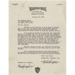 Humphrey Bogart signed memo for prints of The Maltese Falcon and The Treasure of the Sierra Madre.