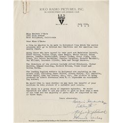 RKO British War charity letter signed by Alfred Hitchcock and other directors to Maureen O'Hara.