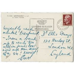 Errol Flynn handwritten and humorously inscribed and signed postcard.