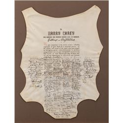 """Harry Carey anniversary """"hide"""" presented to commemorate his career signed by scores of stars."""